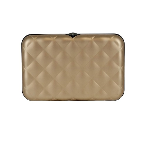 Portfel Aluminiowy Ogon Designs Quilted Button Rose Gold RFID protect